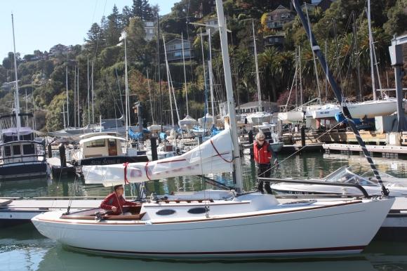 Ralf Morgan and Debra Clark prepare to leave harbor.